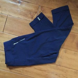 Navy Blue Cropped Dress Pants